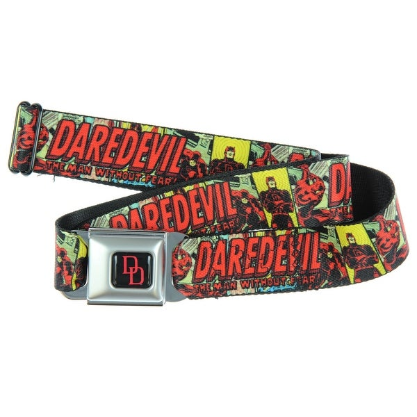 Marvel Universe Seatbelt Belt - DAREDEVIL The Man Without Fear-Holds Pants Up