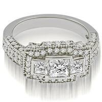 2.25 cttw. 14K White Gold Antique Halo 3-Stone Princess Diamond Engagement Ring