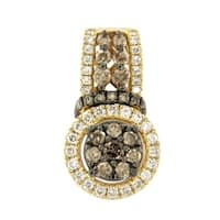 Prism Jewel SI1 Round Cut Brown Color Natural Diamond with G-H/I1 Natural Diamond Pendant,14k Yellow Gold - White