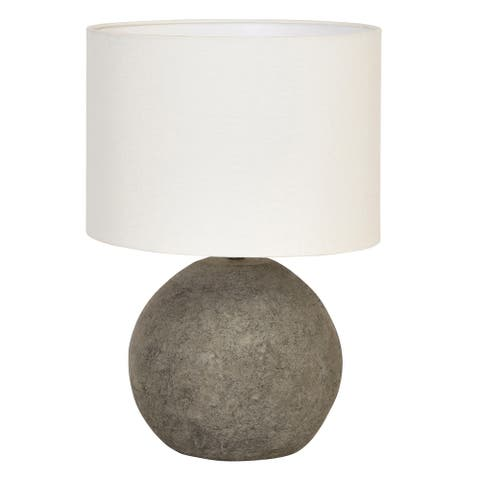Terracotta Table Lamp with Canvas Shade & Distressed Finish