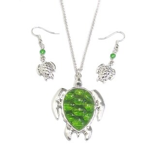 Turtle pendant necklace set