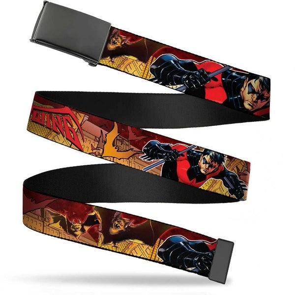 "Blank Black 1.25"" Buckle Nightwing Poses Bats Welcome To Gotham Comic Book Web Belt 1.25"" Wide - M"