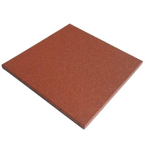 "Rubber-Cal ""Eco-Sport"" 1-inch Interlocking Flooring Tiles - 1 in x 20 in x 20 in - 18 Pack, 48 Sqr/Ft - Terra Cota - 20 x 20"