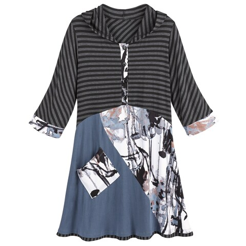Catalog Classics Hooded Mixed Prints Tunic Top Henley 4-Button Front 3/4 Sleeves