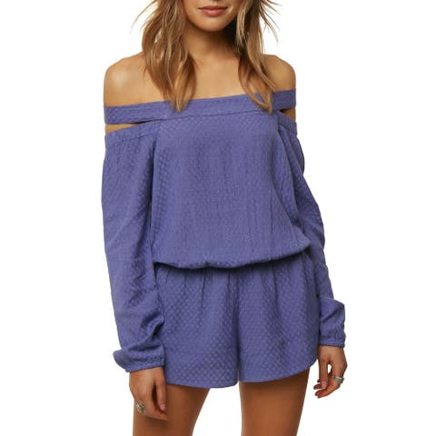 O'Neill Womens Ellsworth Romper Blue Size Small S Off-Shoulder Blouson