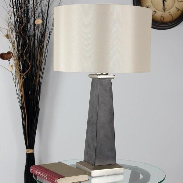 Sunnydaze Indoor-Outdoor Modern Concrete Pillar Table Lamp - Electric - 27-Inch