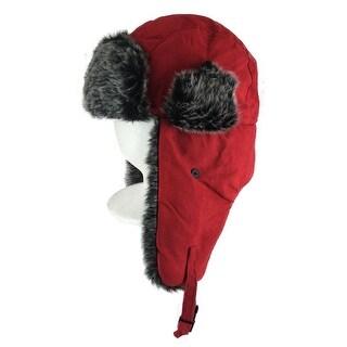 CapRobot Fashion Trooper Aviator Bomber Suede Hat - Red Black