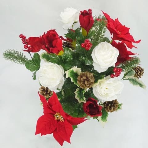 Artificial Winter Frost Seasonal Mixed Bush Holiday, Red, Cream, ABN4B008-RD-CM