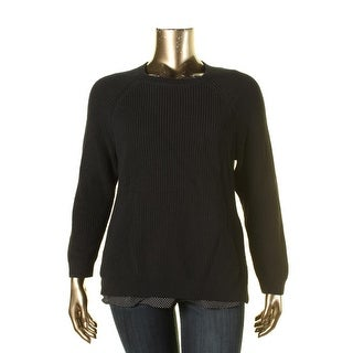 Lauren Ralph Lauren Womens Plus Pullover Sweater Layered Side Slit