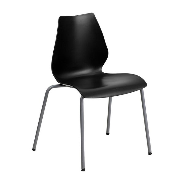 Offex HERCULES Series 770 lb Capacity Black Stack Chair with Lumbar Support and Silver Frame [OF-RUT-288-BK-GG]