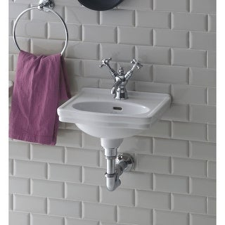 Bissonnet LO944 Wall-Mount Ceramic Sink with Overflow and One Faucet Hole - White - n/a