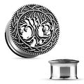 Tree of Life Face 316L Surgical Steel Double Flare Tunnel (Sold Individually) - Thumbnail 0