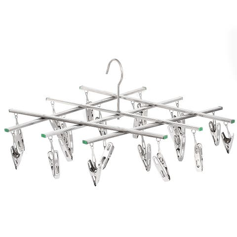 Unique Bargains 20 Pegs Household Portable Multipurpose Underwear Socks Laundry Hanging Drying Rack Silver Tone