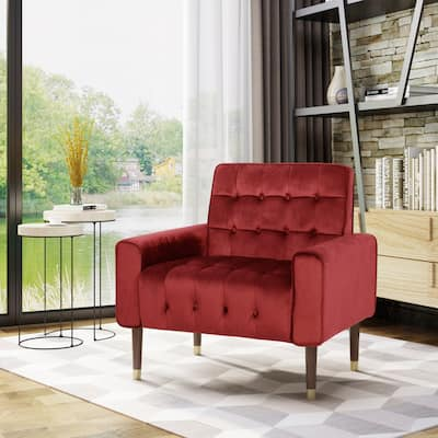 Bourchier Button-tufted Velvet Armchair by Christopher Knight Home