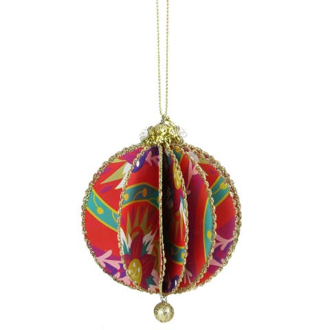 """Red and Gold Funky Floral Print Sliced Christmas Ball Ornament 4"""" (100 mm)"""