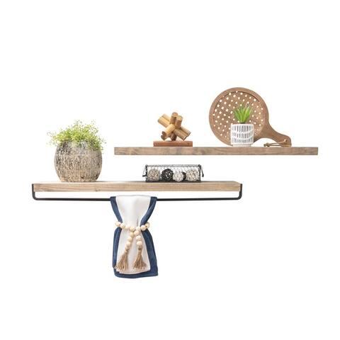 Del Hutson Designs Handmade True Floating Shelf and Towel Rack Set