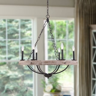 Link to Farmhouse Rustic 6-Light Candle Wooden Chandelier Similar Items in Chandeliers