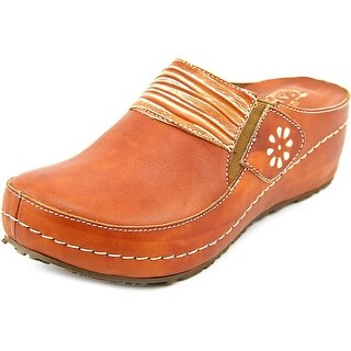 L'Artiste by Spring Step Riverside Women Round Toe Leather Tan Mules