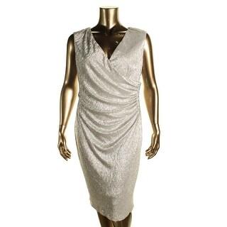 Betsy & Adam Womens Plus Metallic Surplice Cocktail Dress - 18W