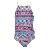 Sun Emporium Girls Pink Blue Tribal Geo Print Racer Back Swimsuit