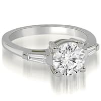 0.50 CT.TW Round Baguette Three Stone Diamond Engagement Ring - White H-I