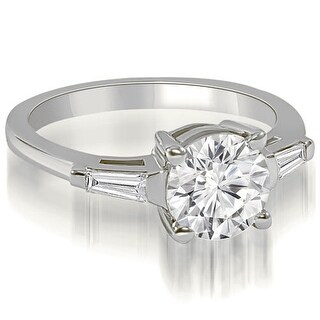 1.15 CT.TW Round Baguette Three Stone Diamond Engagement Ring - White H-I (More options available)
