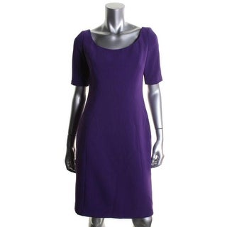 Tahari Womens Pepita Seamed Short Sleeves Wear to Work Dress - 10