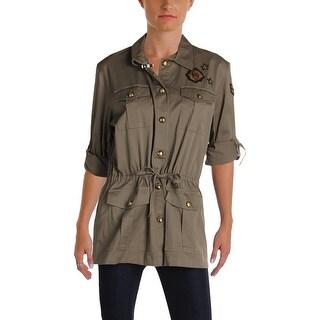 Lauren Ralph Lauren Womens Darcilla Military Jacket Patchwork Long Sleeves