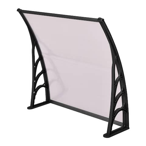 """40"""" x 40"""" Outdoor Polycarbonate Front Door Window Awning Canopy-Black"""