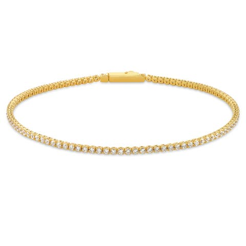 "Forever Last Sterling silver White Cz Tennis Bracelet Yellow 7.5"""