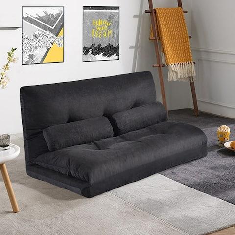 Sofa Bed Adjustable Folding Futon Sofa with Two Pillows