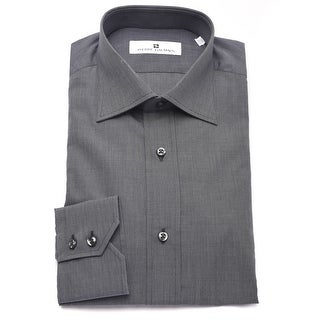 Pierre Balmain Men Slim Fit Textured Cotton Dress Shirt Dark Grey Charcoal