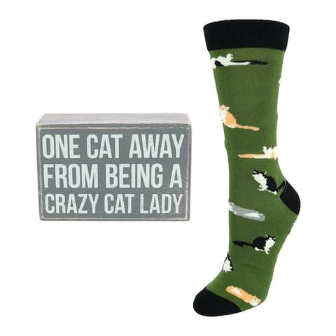 Primitives by Kathy Crazy Cat Lady Box Sign & Sock Gift Set - one size
