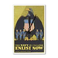 US Navy - The Navy Is Calling - Vintage Ad (Acrylic Wall Clock) - acrylic wall clock