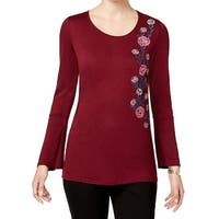 NY Collection Red Women's Size XS  Embroidered Blouse Pullover Top