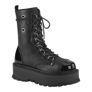Demonia Women's Slacker 150 Platform Lace Up Boot Black Vegan Leather/Patent