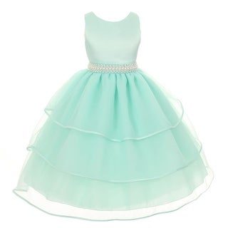 Chic Baby Girls Mint Green Organza Pearl Sash Flower Girl Dress 8-12