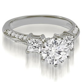 1.70 cttw. 14K White Gold Round and Princess cut Diamond Engagement Ring