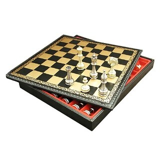 Large Metal Staunton Chess Set With Leather Chest - Multicolored