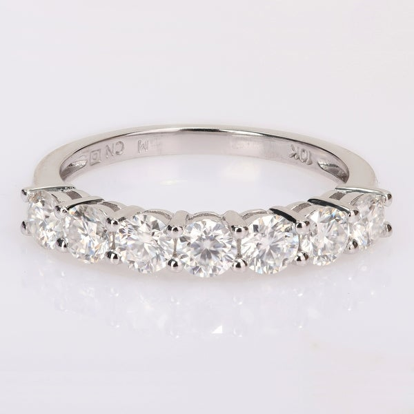 Miadora 1ct DEW Moissanite Stackable Semi-Eternity Band Ring in 10k White Gold. Opens flyout.