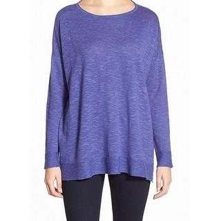 Eileen Fisher NEW Purple Women's Size Large L Boxy Boat Neck Sweater