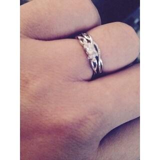 Miadora 10k White Gold Braided Diamond Bridal Ring Set (G-H, I2-I3)