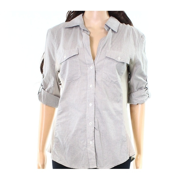 d61cde582 Shop James Perse NEW Gray Womens Size 4 Striped Button Down Shirt Top -  Free Shipping Today - Overstock - 19388506
