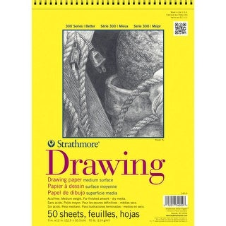 Strathmore 300 Top Spiral Binding Drawing Pad, 70 lb, 9 x 12 Inches, 50 Sheets