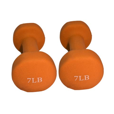 ALEKO Non-Slip 7 lbs Hexagonal Shaped Free Weight Dumbbells - Orange- Set of 2