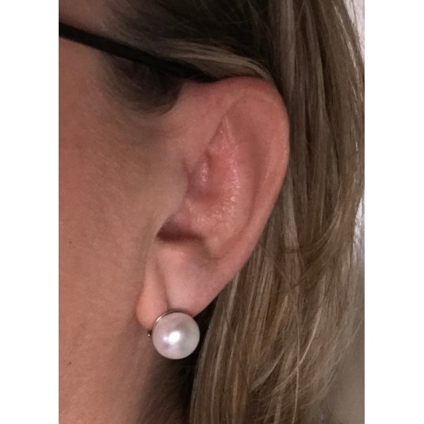 a1337ba3c Shop Sterling Silver Freshwater Pearl Omega Clip Stud Earrings (12-13mm) -  On Sale - Free Shipping On Orders Over $45 - Overstock - 11413346
