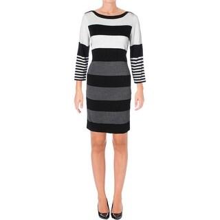 Sandra Darren Womens Petites Sweaterdress Striped Knit