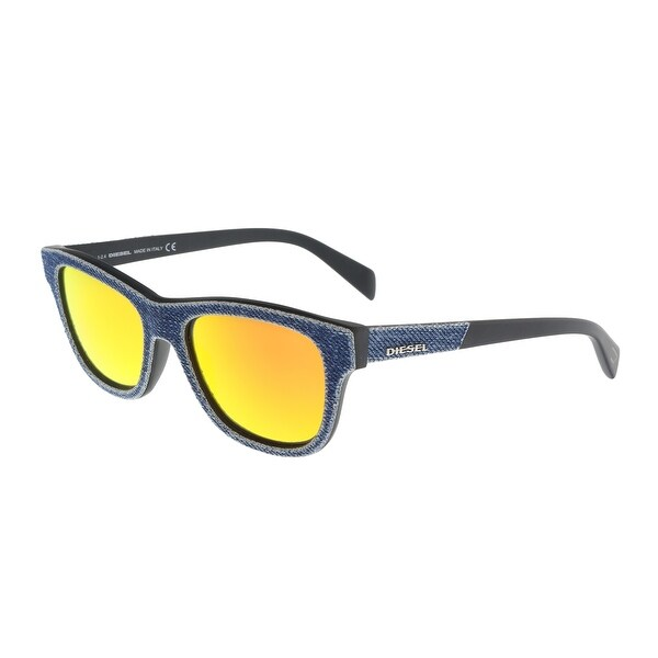 4beebbd057 Shop Diesel DL0111 5290U Denim Square Sunglasses - 52-18-140 - Free ...