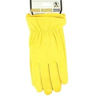 HDX Gloves Mens Work Goatskin Leather Comfort Yellow