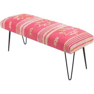 Mahalia Bright Pink Boho Cotton Bench